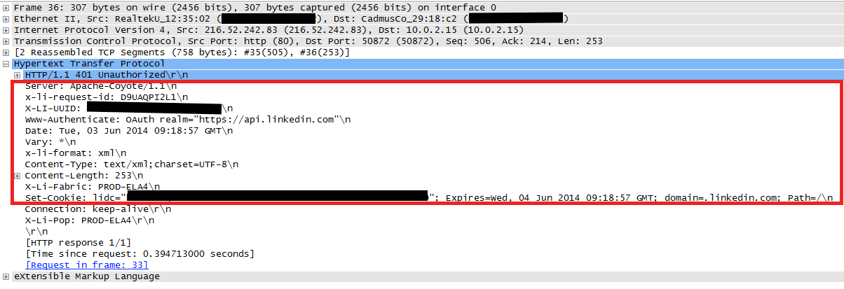 Wireshark capture of malformed HTTP headers